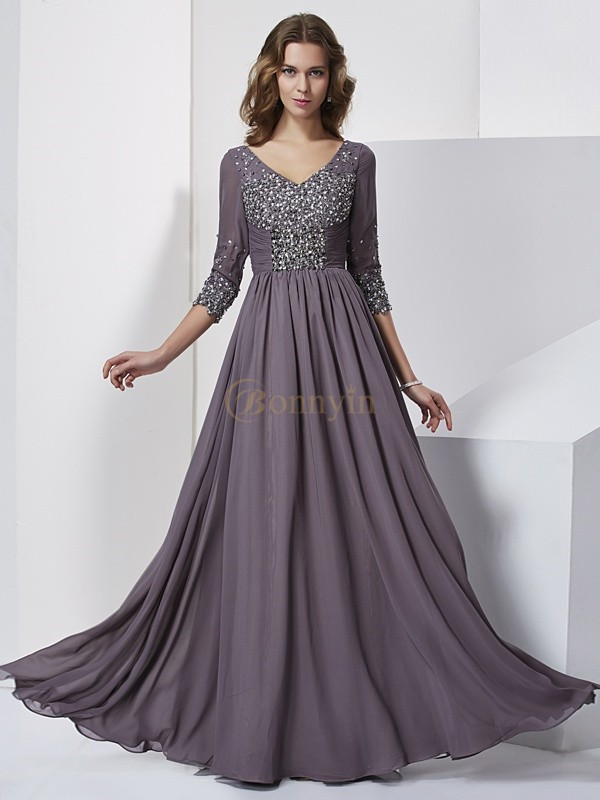 Grey Chiffon V-neck Sheath/Column Floor-Length Dresses