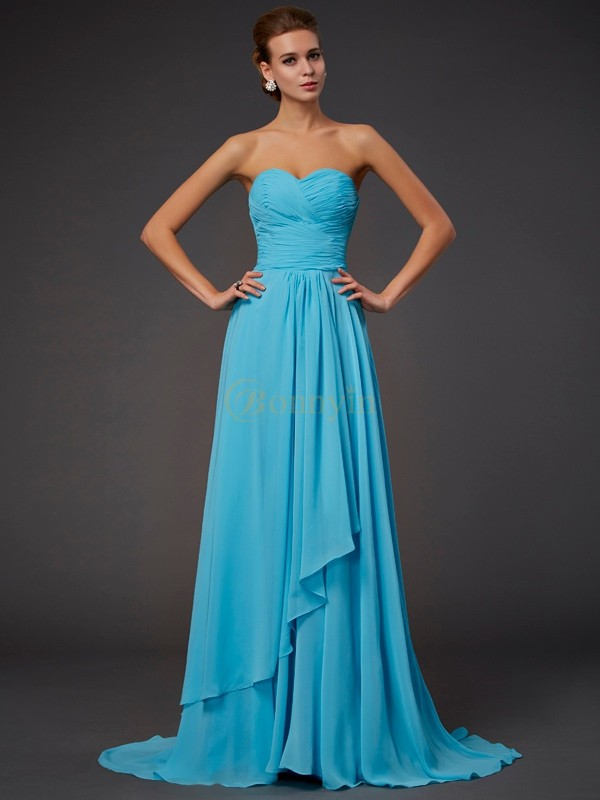 Blue Chiffon Sweetheart A-Line/Princess Floor-Length Dresses