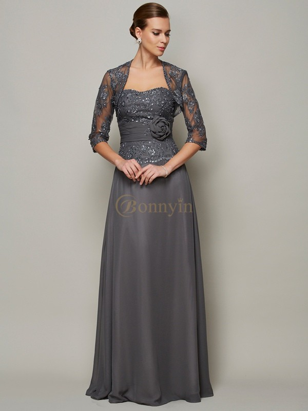 Grey Chiffon Sweetheart A-Line/Princess Floor-Length Mother of the Bride Dresses