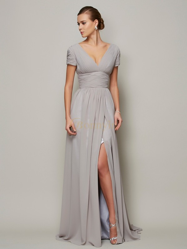 Grey Chiffon V-neck A-Line/Princess Floor-Length Dresses
