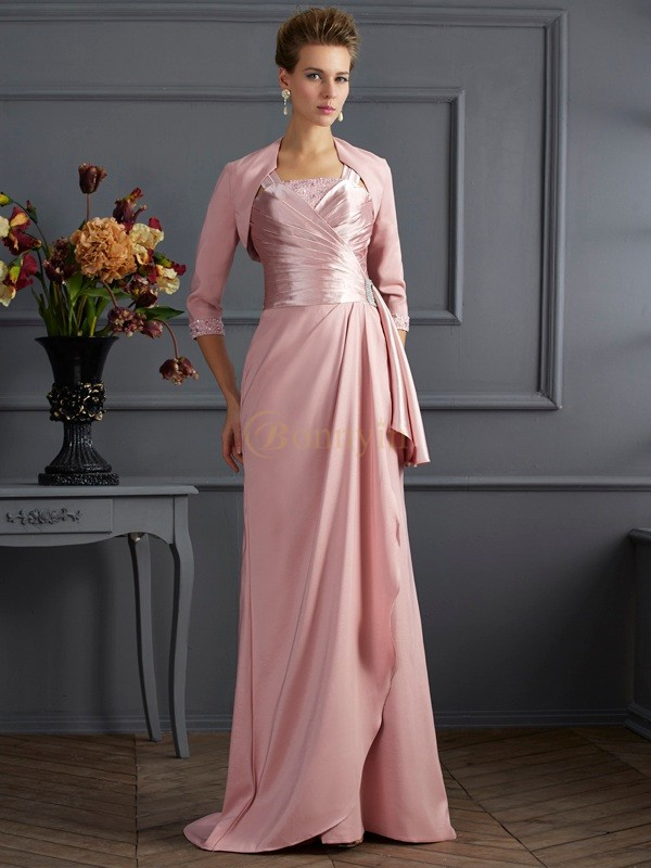 Pink Elastic Woven Satin Straps Sheath/Column Sweep/Brush Train Mother of the Bride Dresses