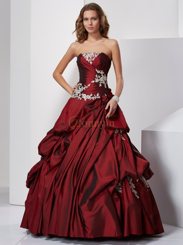 Burgundy Taffeta Sweetheart Ball Gown Floor-Length Prom Dresses