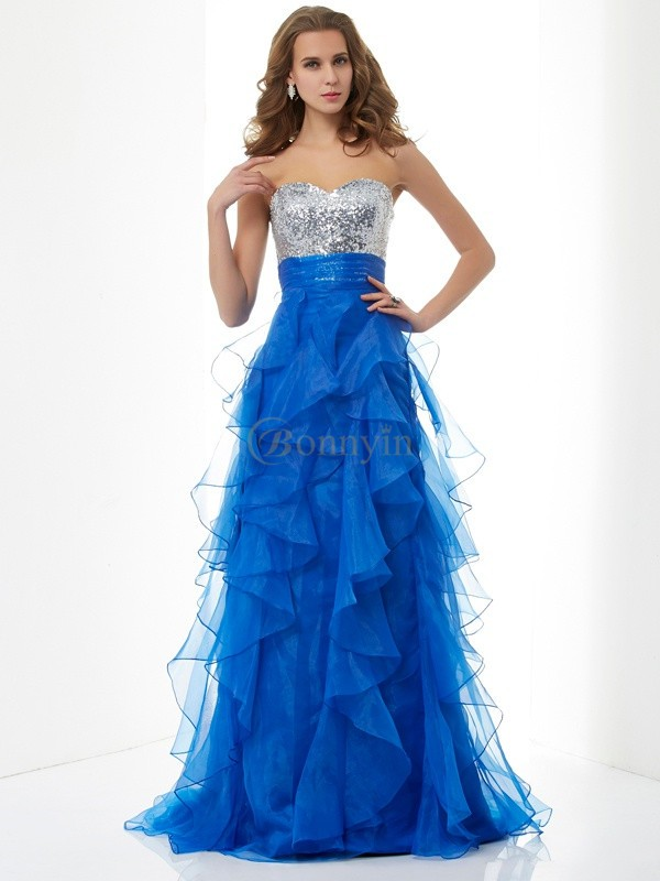 Royal Blue Satin Tulle Sweetheart A-Line/Princess Floor-Length Dresses
