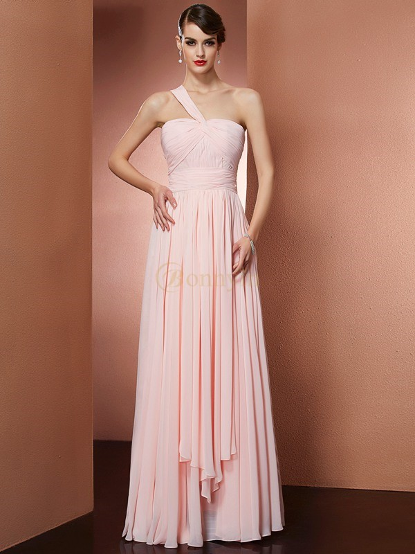 Pearl Pink Chiffon One-Shoulder A-Line/Princess Floor-Length Dresses
