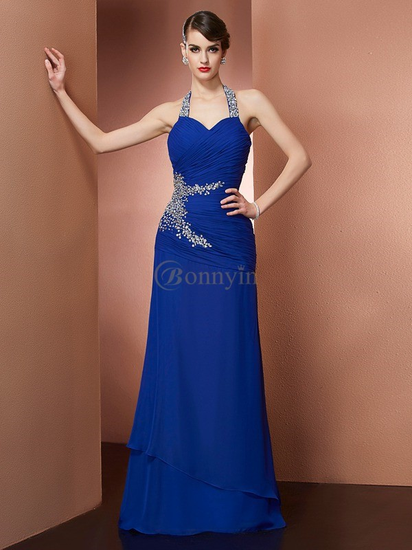 Royal Blue Chiffon Halter Sheath/Column Floor-Length Dresses