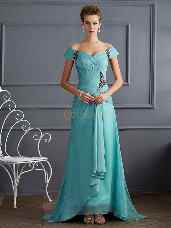 Blue Chiffon Off the Shoulder A-Line/Princess Sweep/Brush Train Dresses