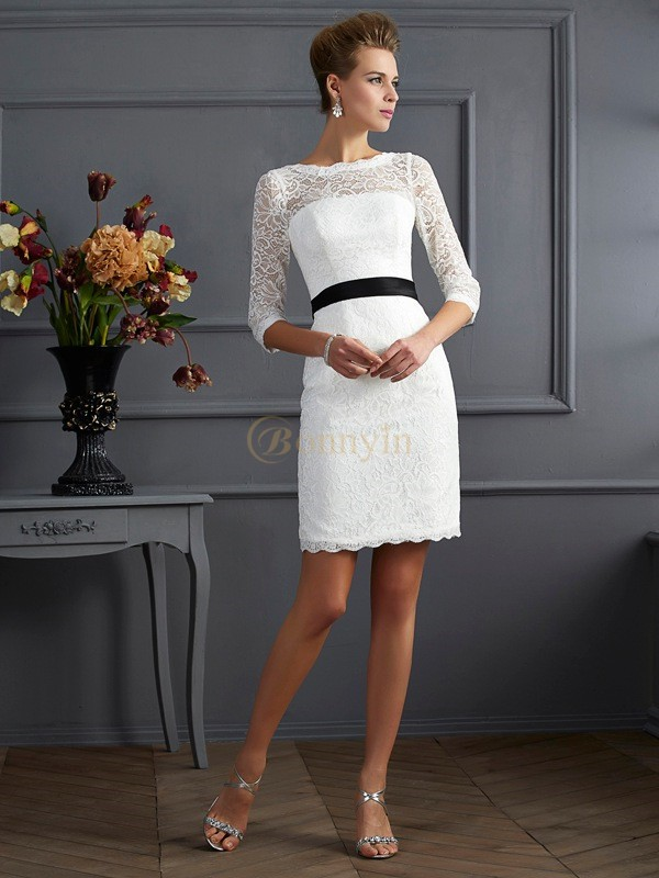 White Lace Scoop Sheath/Column Short/Mini Mother of the Bride Dresses