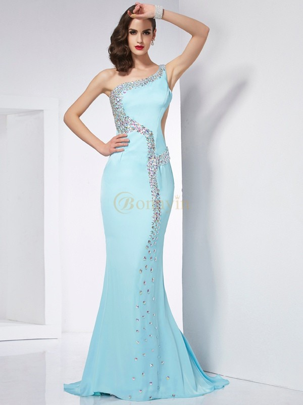 Light Sky Blue Chiffon One-Shoulder Trumpet/Mermaid Sweep/Brush Train Dresses