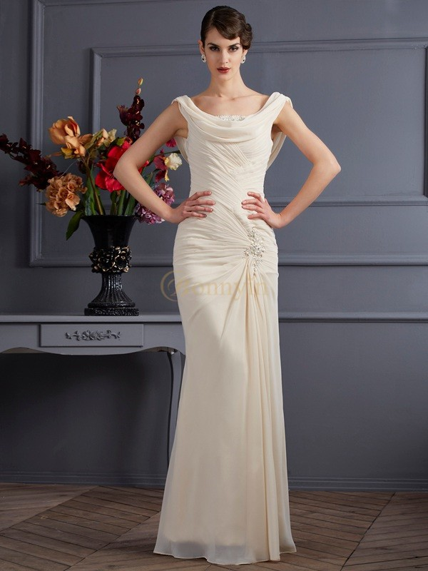 Champagne Chiffon Scoop Sheath/Column Floor-Length Dresses