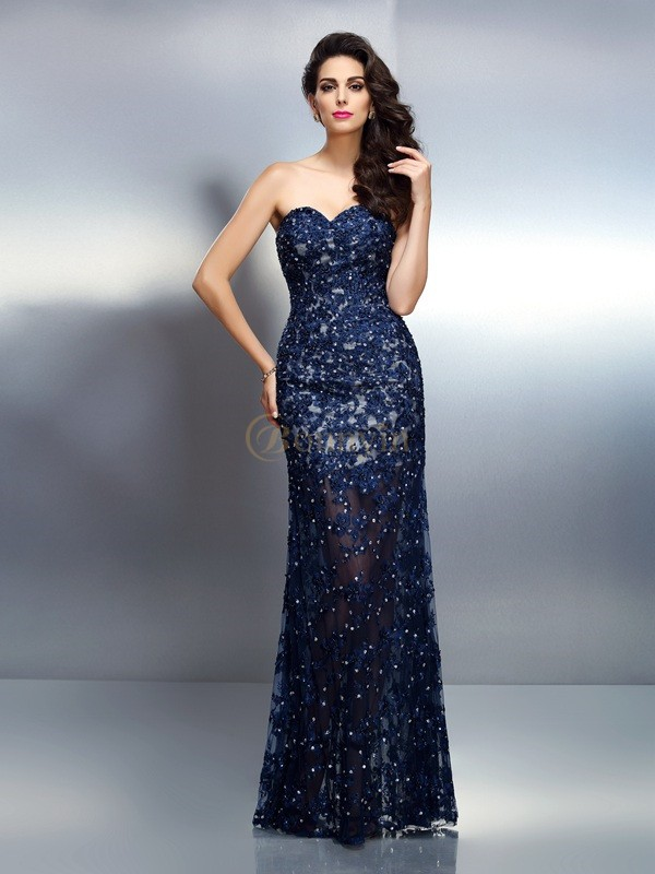 Royal Blue Elastic Woven Satin Sweetheart Trumpet/Mermaid Floor-Length Dresses