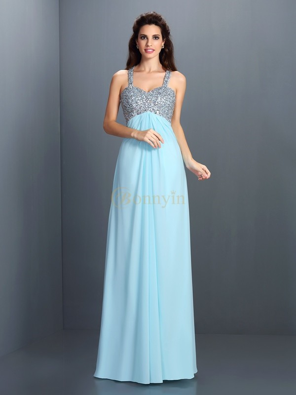 Light Sky Blue Chiffon Straps A-Line/Princess Floor-Length Dresses