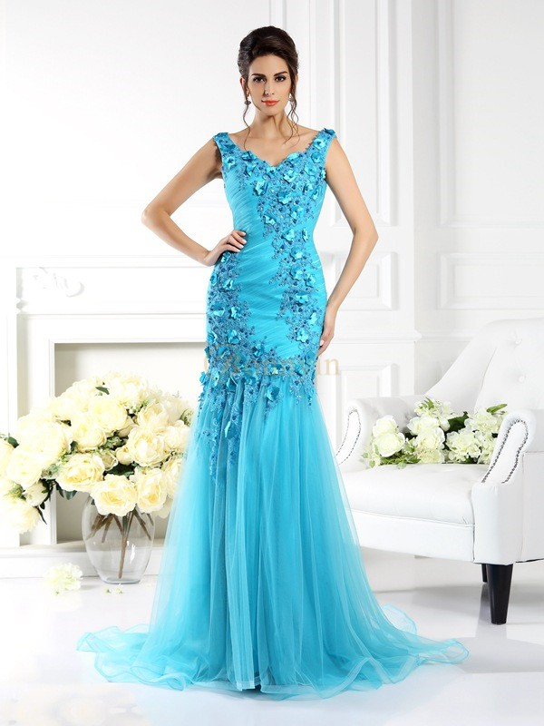 Blue Silk like Satin Straps Trumpet/Mermaid Sweep/Brush Train Dresses