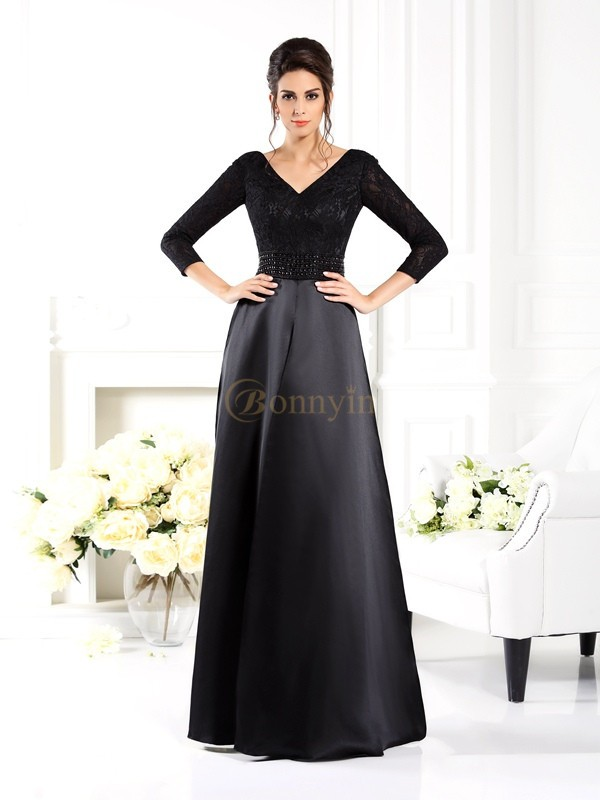 Black Satin V-neck A-Line/Princess Floor-Length Mother of the Bride Dresses