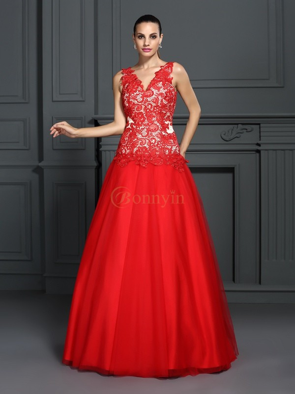 Red Lace V-neck Ball Gown Floor-Length Prom Dresses