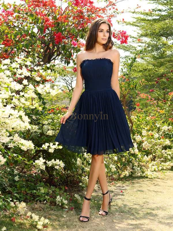 Dark Navy Chiffon Strapless A-Line/Princess Knee-Length Bridesmaid Dresses