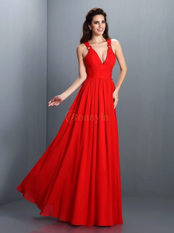 Red Chiffon V-neck A-Line/Princess Floor-Length Dresses