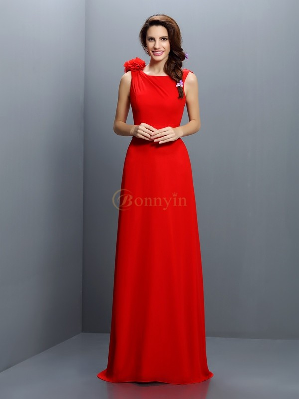 Red Chiffon Bateau A-Line/Princess Sweep/Brush Train Bridesmaid Dresses