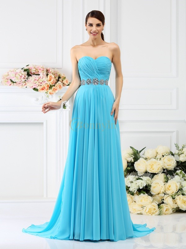 Blue Chiffon Sweetheart A-Line/Princess Sweep/Brush Train Bridesmaid Dresses
