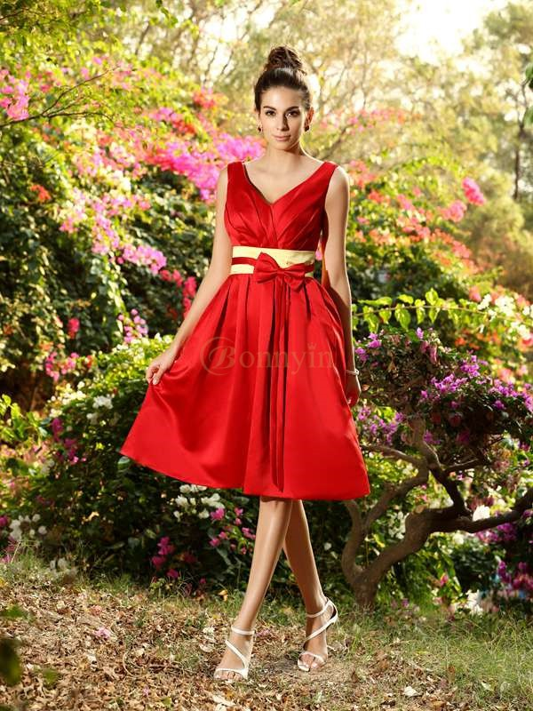 Red Satin V-neck A-Line/Princess Knee-Length Bridesmaid Dresses