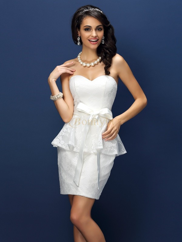 White Satin Sweetheart Sheath/Column Short/Mini Bridesmaid Dresses
