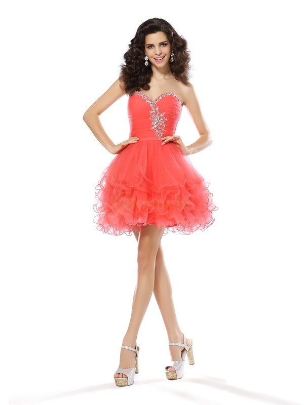 Watermelon Satin Sweetheart A-Line/Princess Short/Mini Dresses
