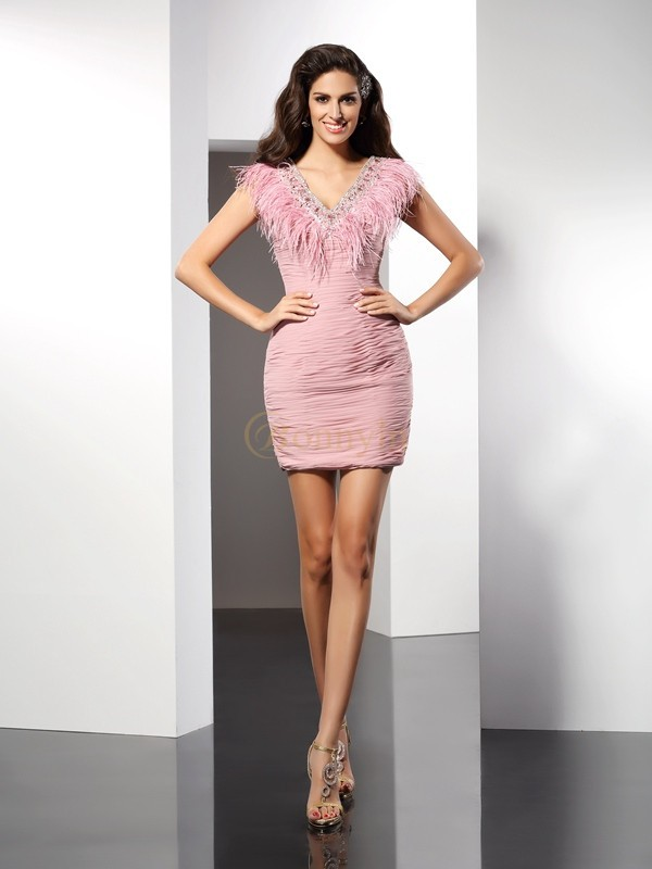 Watermelon Chiffon V-neck Sheath/Column Short/Mini Dresses