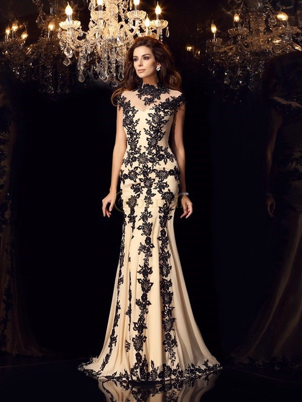 Champagne Chiffon High Neck Trumpet/Mermaid Sweep/Brush Train Dresses