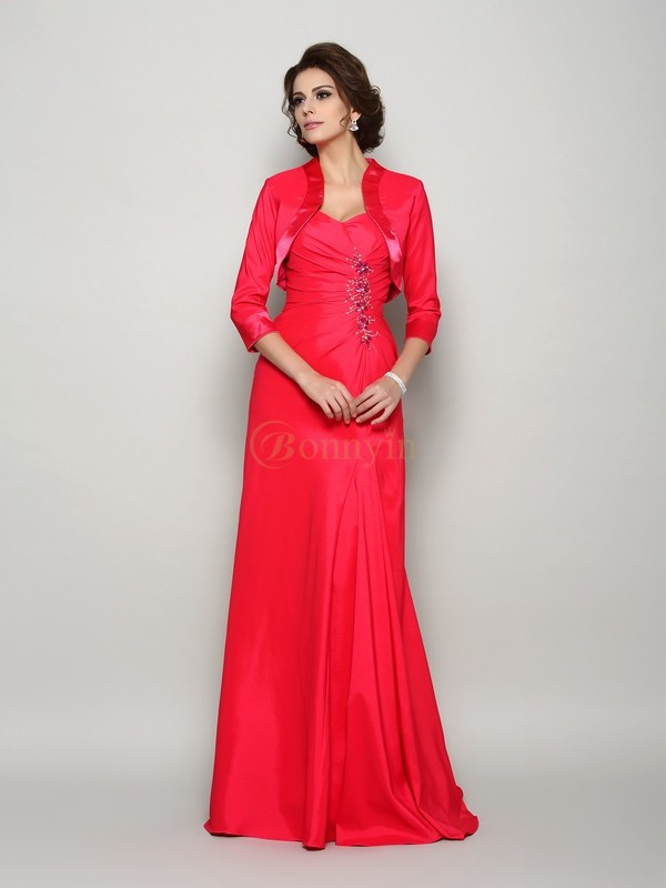 Red Elastic Woven Satin Straps A-Line/Princess Sweep/Brush Train Mother of the Bride Dresses