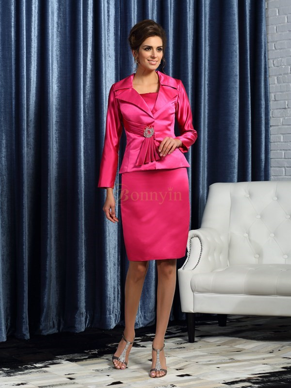 Fuchsia Satin Square Sheath/Column Knee-Length Mother of the Bride Dresses