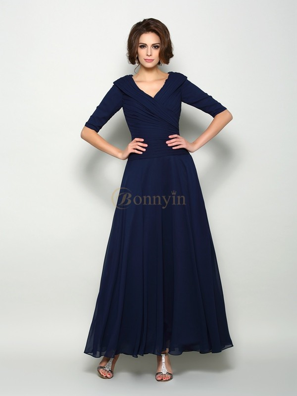 Dark Navy Chiffon V-neck A-Line/Princess Ankle-Length Mother of the Bride Dresses