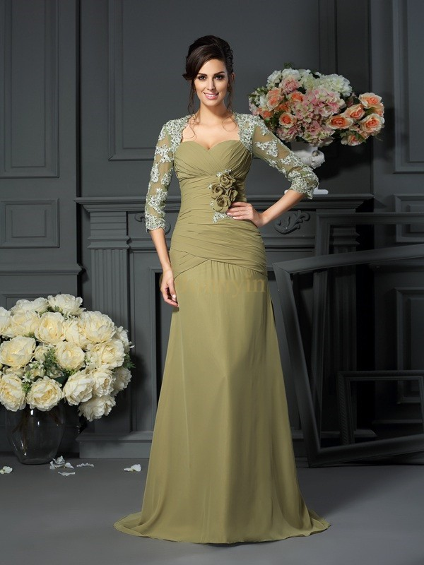 Dark Green Chiffon Sweetheart A-Line/Princess Floor-Length Mother of the Bride Dresses