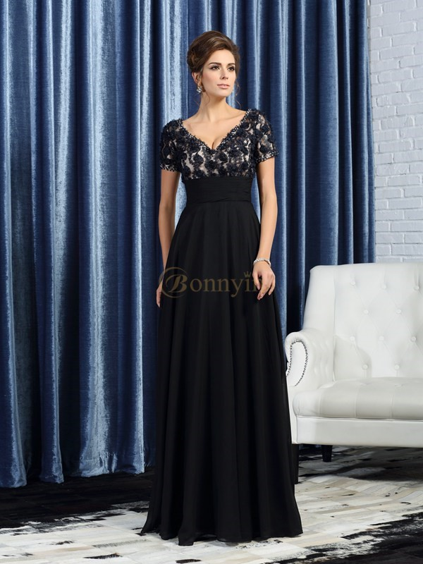 Black Chiffon V-neck A-Line/Princess Floor-Length Mother of the Bride Dresses