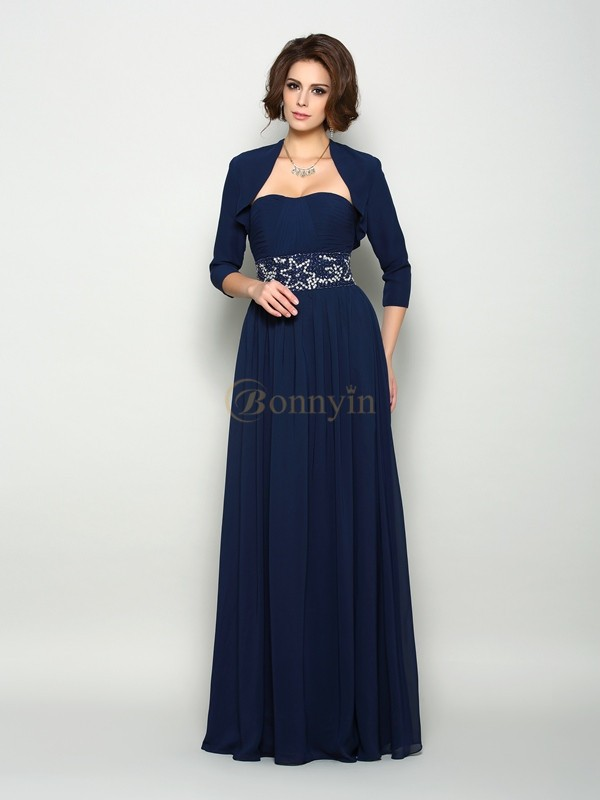 Dark Navy Chiffon Sweetheart A-Line/Princess Floor-Length Mother of the Bride Dresses