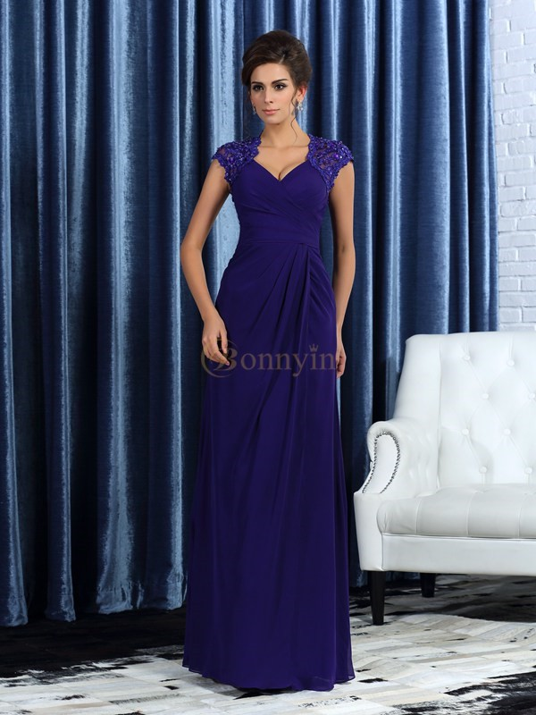 Grape Chiffon V-neck Trumpet/Mermaid Floor-Length Mother of the Bride Dresses