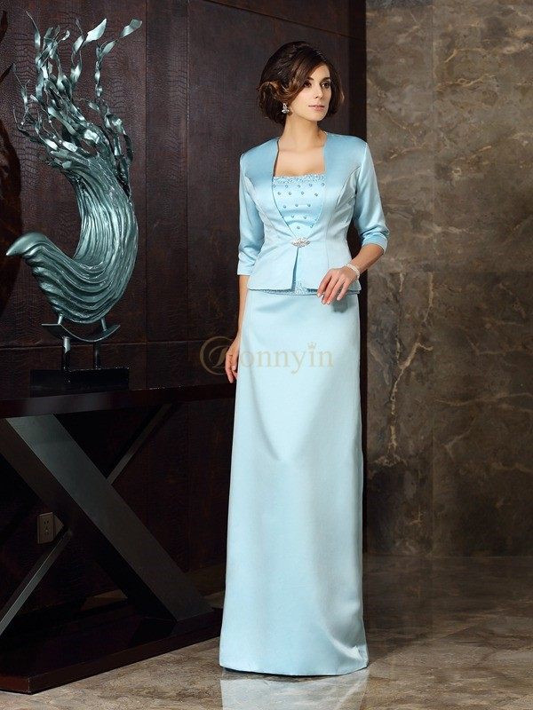 Blue Satin Strapless Sheath/Column Floor-Length Mother of the Bride Dresses