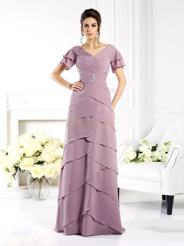 Lilac Chiffon V-neck Sheath/Column Floor-Length Mother of the Bride Dresses