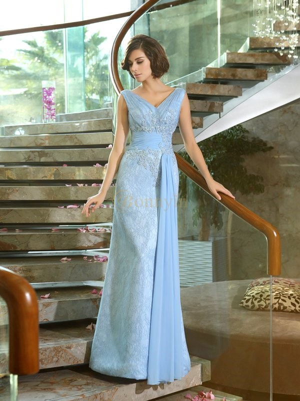 Blue Lace V-neck Sheath/Column Floor-Length Mother of the Bride Dresses