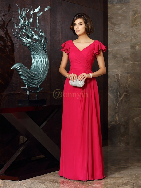 Red Chiffon V-neck A-Line/Princess Floor-Length Mother of the Bride Dresses