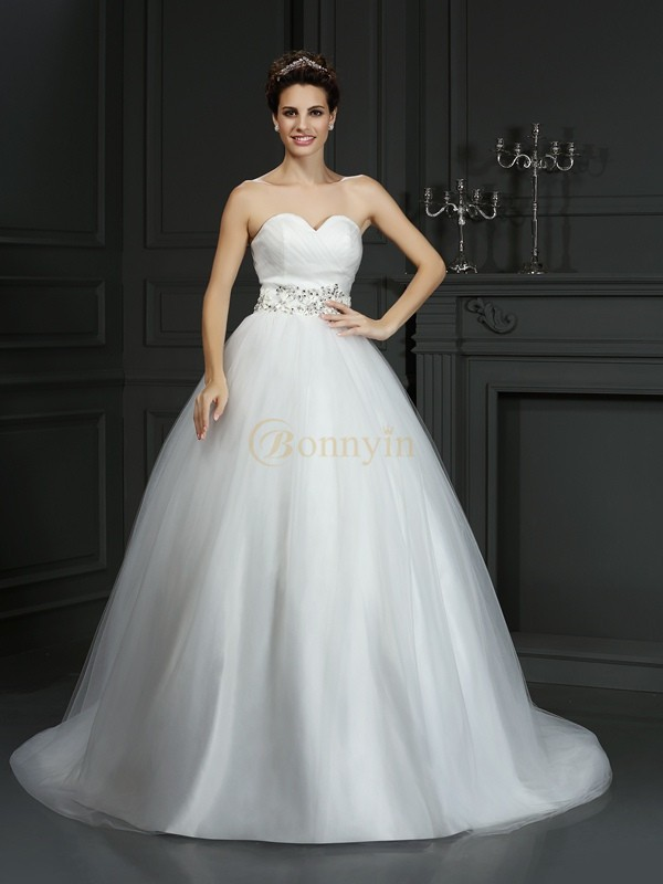 Ivory Net Sweetheart Ball Gown Court Train Wedding Dresses