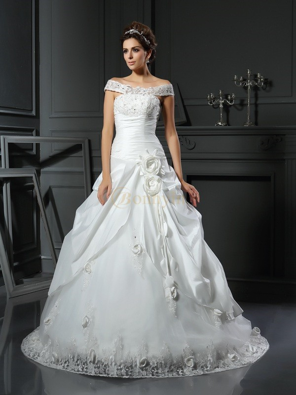 Ivory Satin Off-the-Shoulder Ball Gown Chapel Train Wedding Dresses
