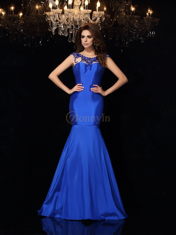 Royal Blue Taffeta Bateau Trumpet/Mermaid Court Train Dresses