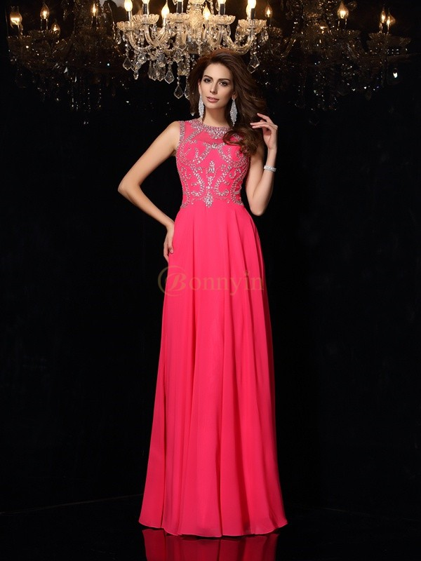 Fuchsia Chiffon Scoop A-Line/Princess Floor-Length Dresses
