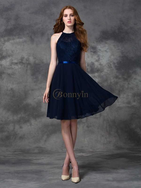 Dark Navy Chiffon Halter A-line/Princess Knee-length Bridesmaid Dresses