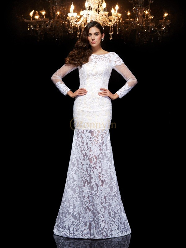 White Lace Scoop Trumpet/Mermaid Floor-Length Evening Dresses