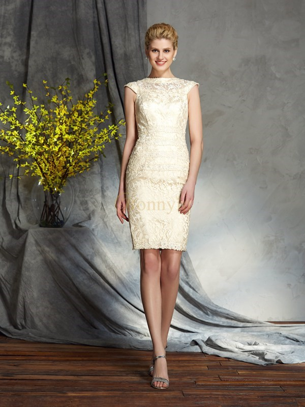 Champagne Elastic Woven Satin Bateau Sheath/Column Short/Mini Mother of the Bride Dresses