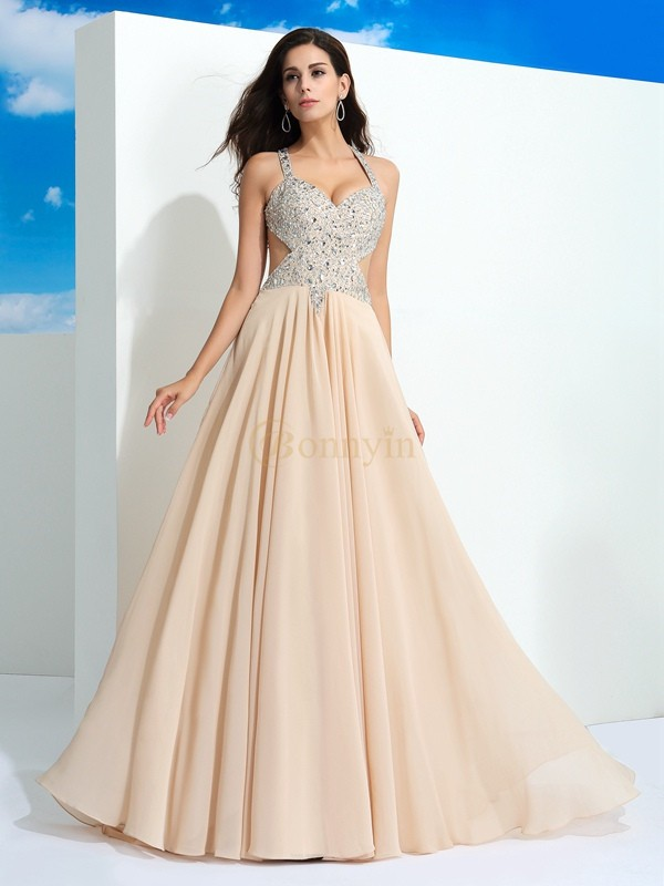Champagne Chiffon Straps A-Line/Princess Sweep/Brush Train Prom Dresses
