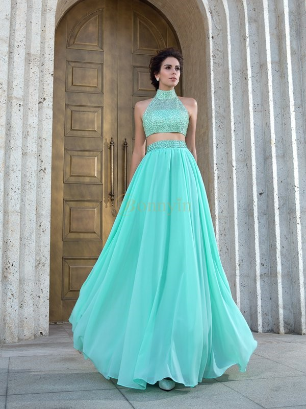 Green Chiffon High Neck A-Line/Princess Floor-Length Prom Dresses