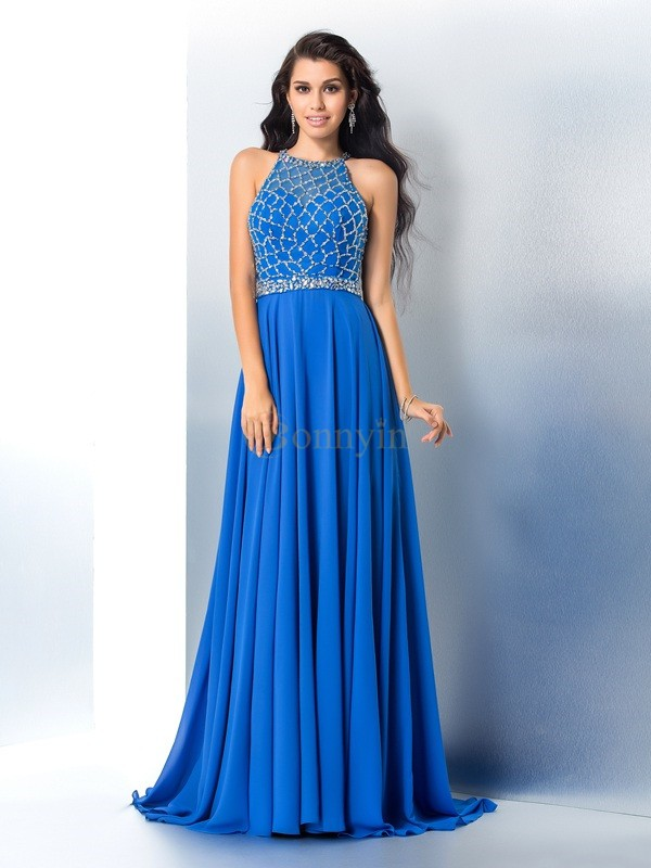 Royal Blue Chiffon Scoop A-Line/Princess Sweep/Brush Train Prom Dresses