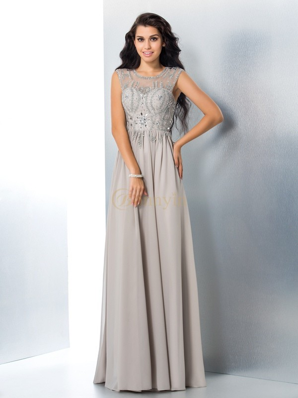 Silver Chiffon Sheer Neck A-Line/Princess Floor-Length Prom Dresses
