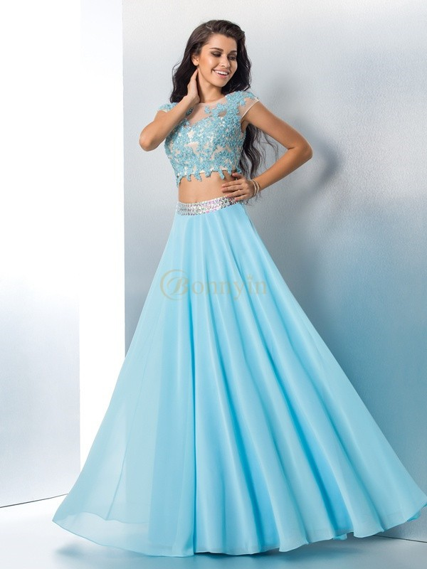Light Sky Blue Chiffon Sheer Neck A-Line/Princess Floor-Length Prom Dresses